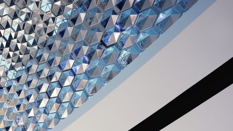 3D Platte Kristall 100ps, Edelstahl rostfrei, spiegelpoliert, Zick-Zack-Lasercut###3D Plate Crystal 100ps, stainless steel, mirror polished, laser cut